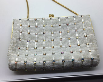 Vintage White Beaded Rhinestone Evening Bag Purse Clutch  MCM 50s 60s Made in Hong Kong Formal Elegant Glam Kiss Lock New Year Dinner Party
