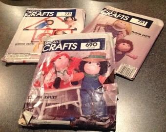 McCalls  690 731 751Blossom Crafts Sewing Pattern Soft Sculptured Dolls Girl Boy Dolls Fay Wine New Uncut