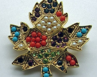 Vintage D'Orlan Boucher Gold  Plated Maple Leaf Brooch Pin Buried Treasure Collection Multi Color Seed  Beads Swarovski  Crystals