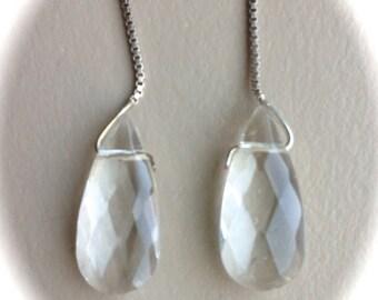 """Sterling Silver Crystal Drop Earrings 3"""""""