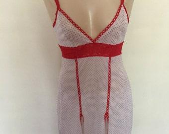 1970's Red Polka Dot/Lace Slip