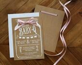 Baby Shower Invitation - Baby-Q Baby Invitation - Mason Jar Baby Shower - Rustic Baby Shower Invitation - Baby Shower Invitation Printable