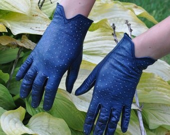 Leather GLOVES vintage made in Germany 1950's navy blue driver gloves openwork 7,5