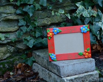 red photo frame handmade polymer clay with flowers