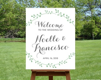 PRINTABLE Wedding Welcome Sign | Personalized Large Wedding Sign | Custom Wedding Reception Poster | Garden Wedding DIGITAL FILE