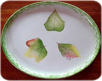 Hand Painted Ceramic Platter Real Leaves Imprint, Italy