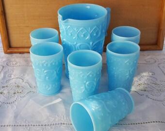 """Blue Opalescent Glass German """"Second Rokoko"""" Pitcher Set"""