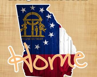 Georgia State Flag Sticker Decal - Georgia Peach Home sticker - Yeti Cooler sticker - Beer Fridge Sticker - Georgia sticker
