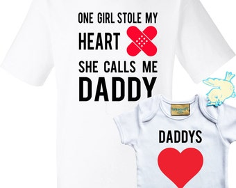 Father and baby daughter T-shirt and baby grow set with fathers stolen heart.