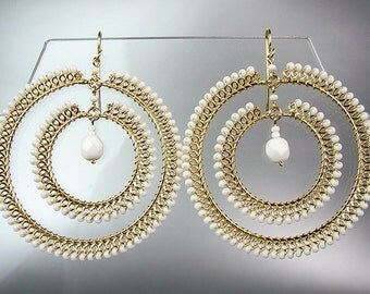 GORGEOUS White Quartz Crystal Beads Chandelier Dangle Earrings, Bohemian Earrings, Cascading Dangle Earrings, FREE SHIPPING!