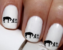 20 pc Praying Cowgirl With Horse Bended Knee Cowgirl Not Perfect Just Forgiven Nail Art Nail Decals #cg112na