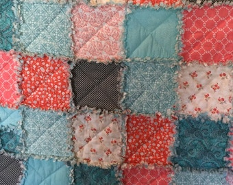 Teal, coral rag quilt