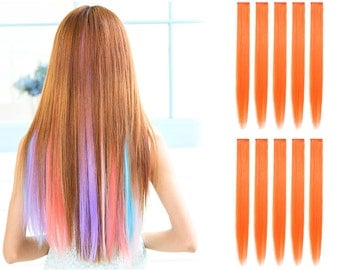 """23"""" Straight Synthetic Colored Party Highlight Clip in Hair Extensions (24C-Orange)"""