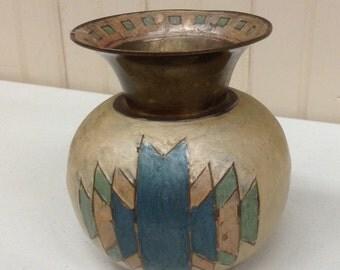 Vintage Ceramic on Brass Handpainted Urn