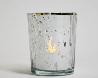 Mercury Glass Votive Tealight Candle Holder - Silver (2.5 INCHES) (6 PACK) Item TLMC-SV6