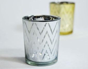 6 PACK-Chevron Votive Tea Light Glass Candle Holder - Silver (2.5 INCHES) Item TLCV-SV6