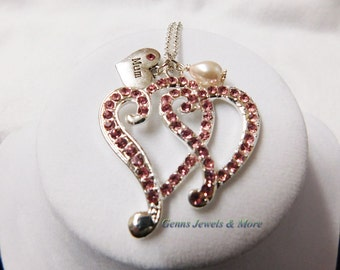 Double Heart Pink Rhinestone Necklace, Double Heart Rhinestone Necklace, Pink Heart Rhinestone Necklace, Heart Rhinestone Necklace