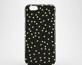 Neon green Polka dots phone case / Black glossy case / confetti phone case / iPhone and Samsung Galaxy cases / FREE UK SHIPPING