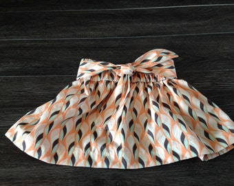 Tie Front Toddler Skirt Coral Blue Mod Print 18-24 months