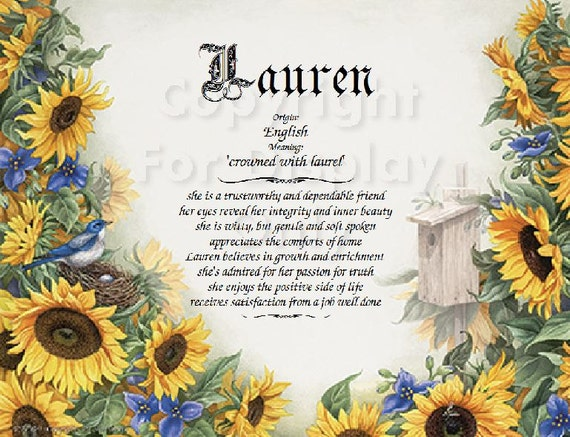 Personalized Sunflower Name Meaning Print