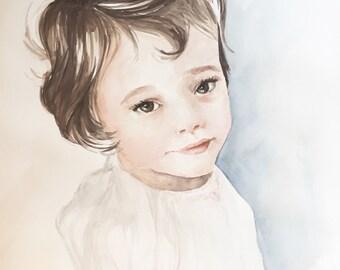 Custom children's, siblings, sisters watercolor portrait little girl painting