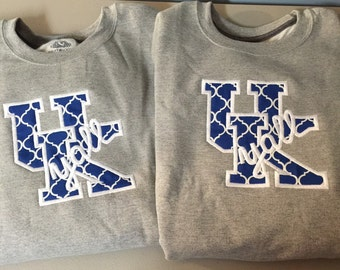 University of KY Y'all Crew Neck Sweatshirt with Initials on Back