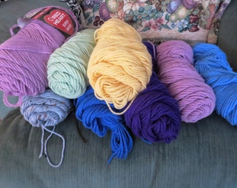 Mixed Lot of 8 Miscellaneous Yarn Skeins. Used/New