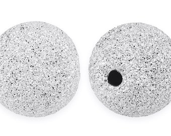 1 Pc 18 mm Sterling Silver Round Stardust Bead (SS520418)