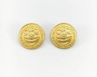 Celine Gold-Tone Clip-On Medallion Earrings - 1991