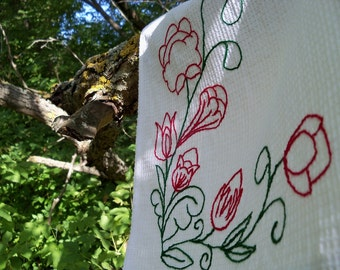 """Kitchen towel  """"fantastic garden"""". Handmade. Hand Embroidered. Ready to ship."""