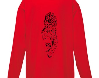 Kids Leopard T-Shirt Long Sleeved / Childrens Red TShirt / Boys Girls Animal Jaguar Tee Red, White, Black Age 3-4, 5-6, 7-8, 9-11, 12-13