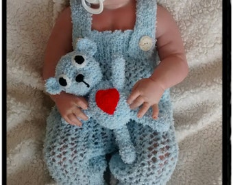 Blue Newborn SET/knitting baby set/crochet baby set/newborn photo prop/Hat and Diaper Cover/Gift,Ready to Ship
