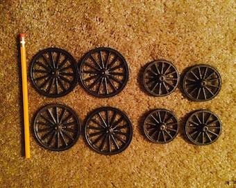 Miniature metal wagon wheels