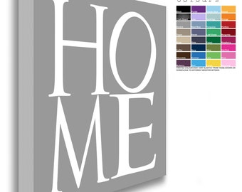 HOME Canvas Chunky Framed White Text  (32 Background Colours Available)
