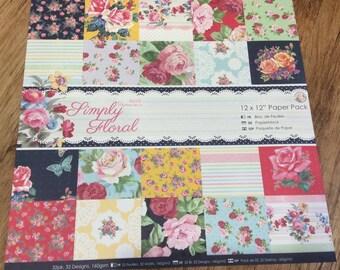 "Scrapbook Paper 12"" 12"" Pack Flowers"