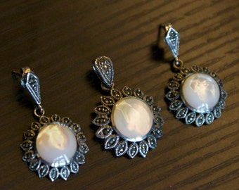 Spectacular M O P Marcasite Silver Pendant Set