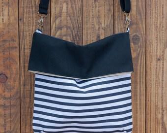 Foldover Crossbody Bag. Striped shoulder bag. Fabric bag purse. Summer bag. Stripes handbag.