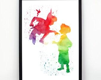 Peter Pan, Tinker Bell, Disney fan Art, Watercolor alternative poster, Watercolor Art, Nursery Print, Nursery Wall Art,
