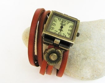 Boho leather wrap woman square watch with an antique bronze flower