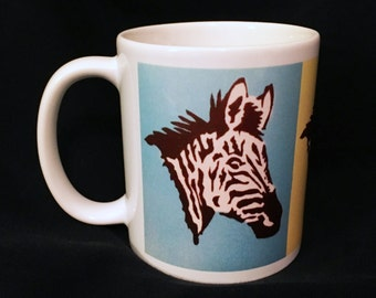 In STOCK SALE! Photo Coffee Mug - The Zebras Three POP Art 11oz White Coffee Tea Cup Fun Zebra - Holiday Christmas Gift for Him/Her! Unique