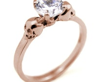 Skull Ring 9ct Rose Gold 1ct Round Brilliant Cut  Hand Crafted Engagement Ring 4 Claw