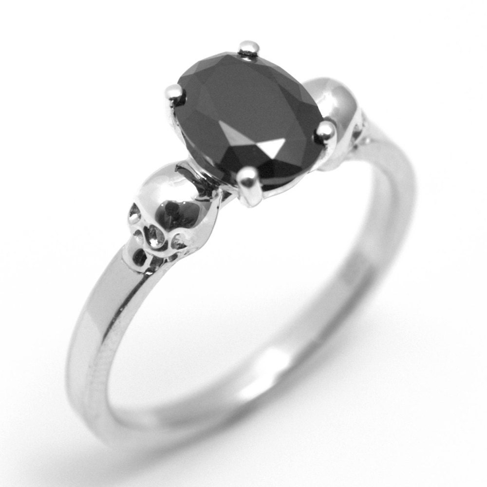 skull ring sterling silver 1 4ct unique oval cut black