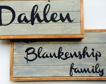 Personalized family name wood sign - last name home sign - family sign - customized family sign