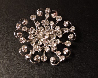 Vintage Estate 60's Rhinestone Crystal Silver Tone Brooch Bridal Party Mother Larger Size