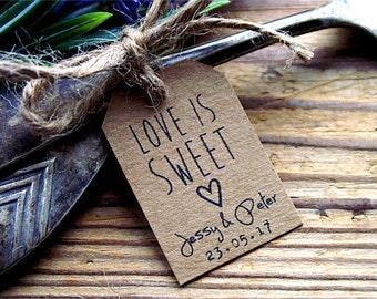 Love Is Sweet Labels, Love Is Sweet Tags, Wedding Favor Tags, Wedding Labels, Custom Tags, Personalized Tags, Kraft Tags, Mason Jar Tags
