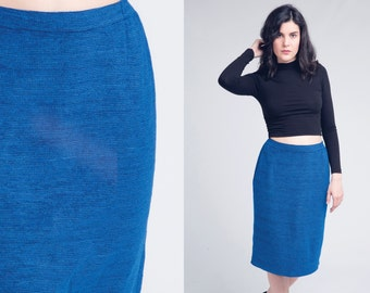 blue knit skirt / high waisted skirt / vtg 80s / s