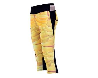 Bananas Custom Printed Digital Capri Leggings by Legs247.com