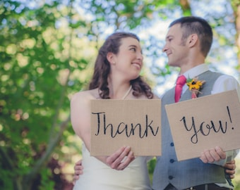 Wedding Thank You, Bride and Groom Photo Prop, Burlap Thank You Signs, Bride & Groom, Wedding Signs