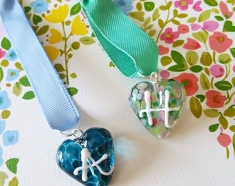 Personalised Initial Hearts - Ribbon Hangings - Lampwork Heart Bead - Personalised Bead - Stocking Filler- Gift for Her - Handmade in the UK