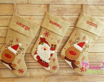 personalised santa or reindeer stocking , Christmas stocking , personalized stocking , santa sack , first Christmas , Christmas decoration